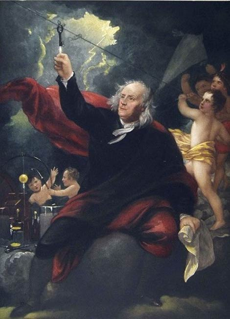 Benjamin Franklin flying a kite