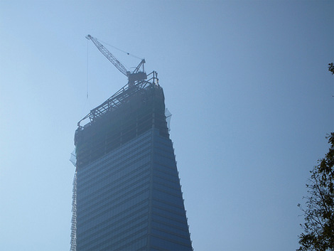 Songdo tower with cranes