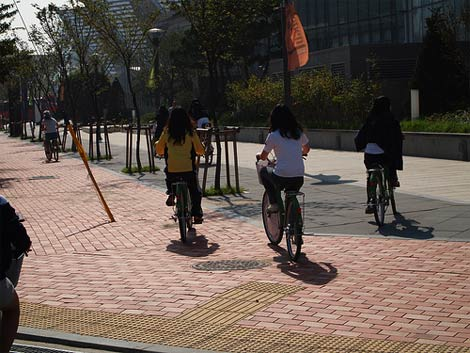 Songdo girls on bikes