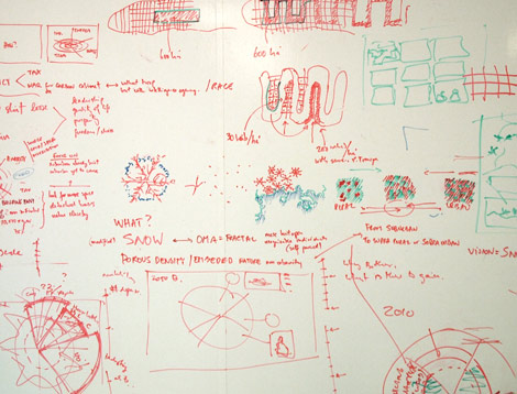 Detail of studio whiteboard
