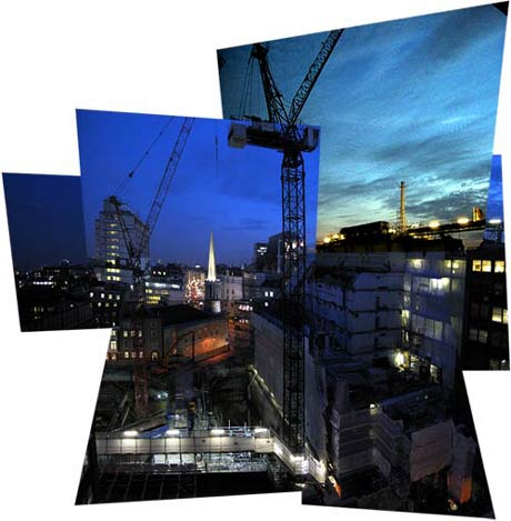 Broadcasting House building site, early evening, October 2003