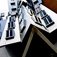 Stata, windows over rear entrance, Vassar side