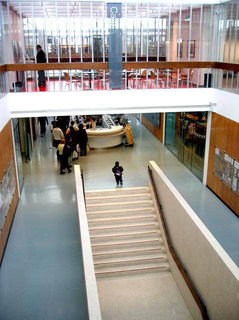 Swiss Cottage Library, visitor at top of stairs