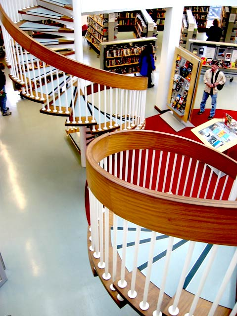 Swiss Cottage Library, stairs curving