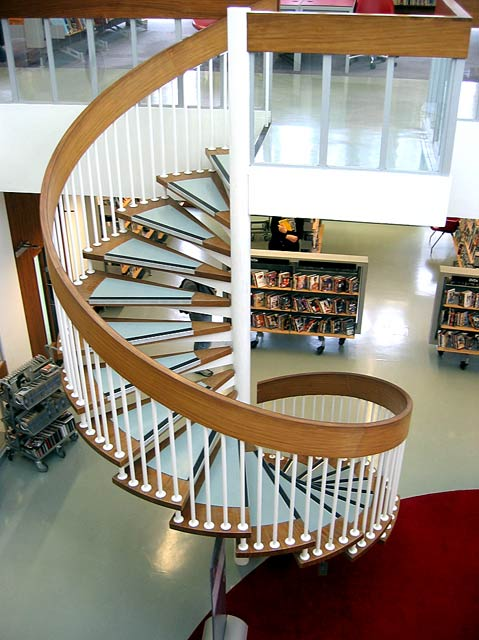 Swiss Cottage Library, interior stairs