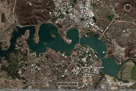 Canberra from Google Earth