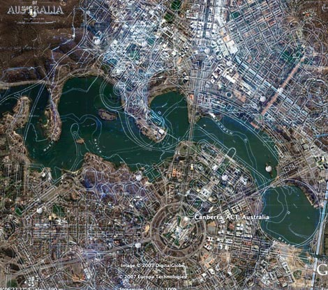 Canberra plan overlaid onto Canberra