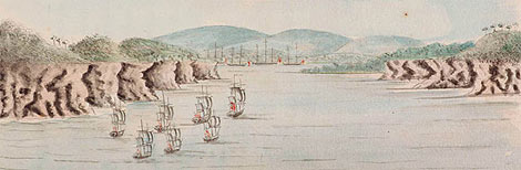 Ships of the First Fleet approaching Sydney