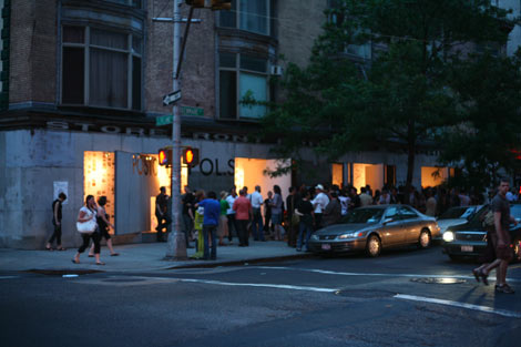 Party from across street, photo by Joseph Grima