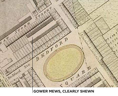 Gower Mews on Harwood's 1792 map