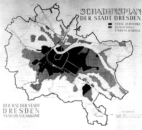 Map of fire damage in Dresden