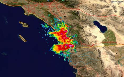 Map of fire surrounding San Diego