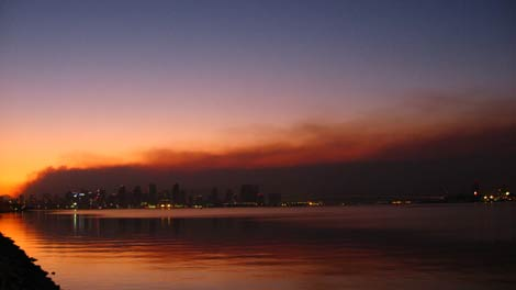 San Diego skyline under smoke