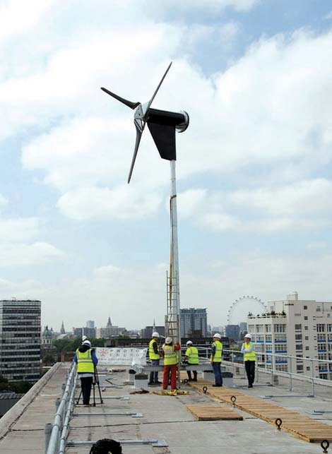 Turbines installed at Elephant and Castle, Southwark, London