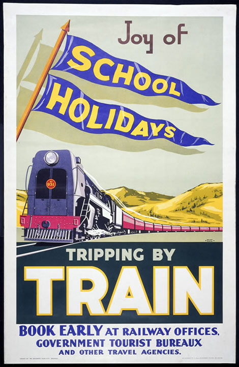 New Zealand school holidays by train poster