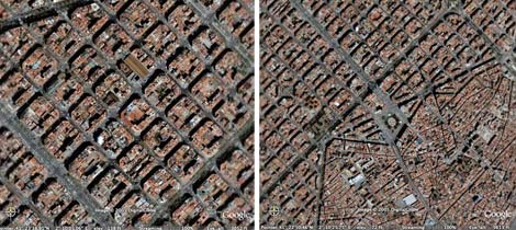 Google Earth images of Eixample (l) and Ciutat Vella edge (r)