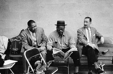 Milt Hinton photograph of Ben Webster, Red Allen, and Pee Wee Russell