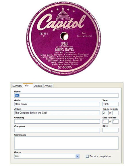 Jazz metadata in the 1950s and 2005